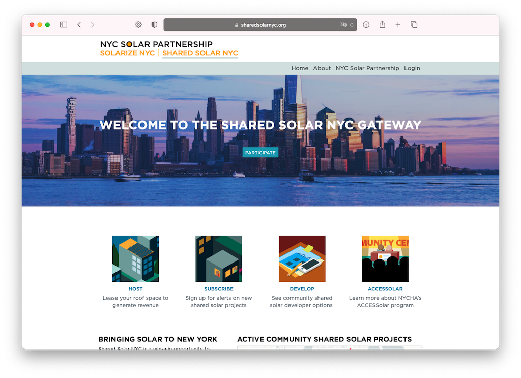 Screen shot of Shared Solar NYC Gateway with a skyline and four buttons
