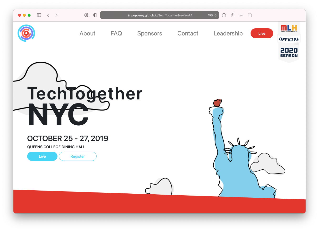 Screen shot of TechTogether New York Website with title and logo